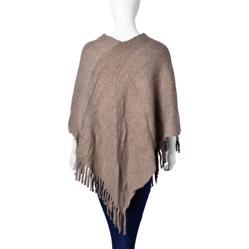 New Autumn / Winter Season - Khaki Colour Knitted Poncho with Fringes (Free Size)