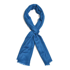 Limited Available - 100% Fine Cashmere Wool Royal Blue Colour Shawl (Size 200x70 Cm)