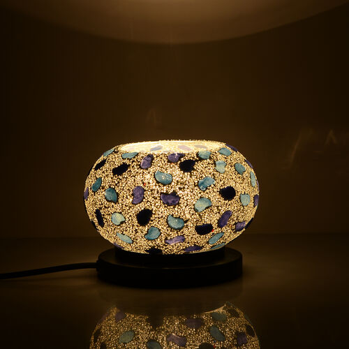 New Arrival - Handcrafted White and Multi Colour Mosaic Electric Lamp with NATURAL HIMALAYAN ROCK SALT