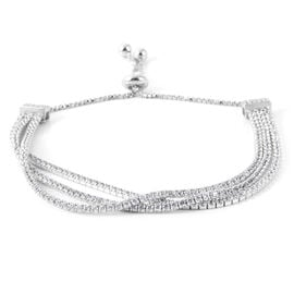 AAA Simulated Diamond (Rnd) Triple Strand Adjustable Bracelet (Size 6.5 to 8.5) Silver Plated
