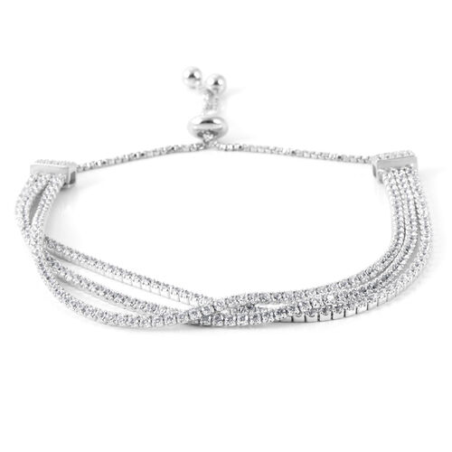 AAA Simulated Diamond (Rnd) Triple Strand Adjustable Bracelet (Size 6.5 to 8.5) Silver Plated