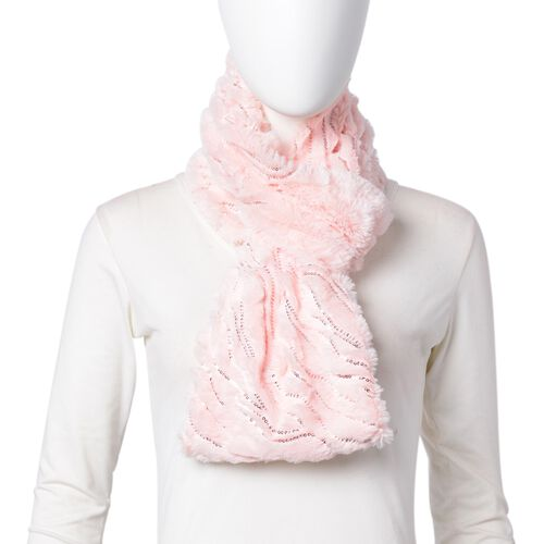 Designer Inspired - Pink Colour with Sequins Faux Fur Infinity Scarf (Size 77x18 Cm)