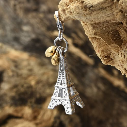 Extra Detailing Eiffel Tower with Heart Charm in Platinum and Gold Plated 925 Sterling Silver