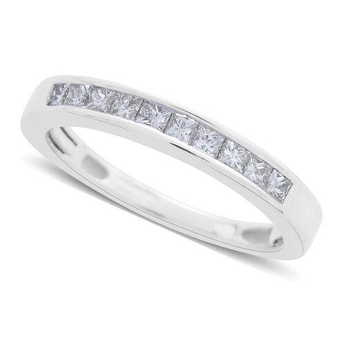 ILIANA 18K White Gold 0.50 Carat Princess Cut IGI Certified Diamond (SI/G-H) Half Eternity Band Ring