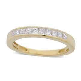ILIANA 18K Yellow Gold IGI Certified Diamond (Princess Cut) (SI/G-H) Half Eternity Band Ring 0.500 Ct.