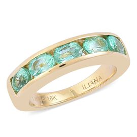 ILIANA 18K Yellow Gold 1.83 Ct AAA Boyaca Colombian Emerald 5 Stone Band Ring