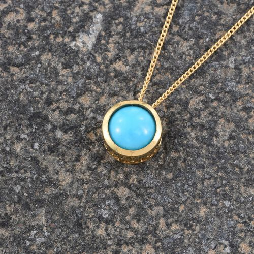Arizona Sleeping Beauty Turquoise (Rnd) Solitaire Pendant with Chain in 14K Gold Overlay Sterling Silver 1.150 Ct.