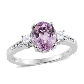 ILIANA 18K W Gold Kunzite (Ovl 3.15 Ct), Diamond Ring 3.500 Ct.