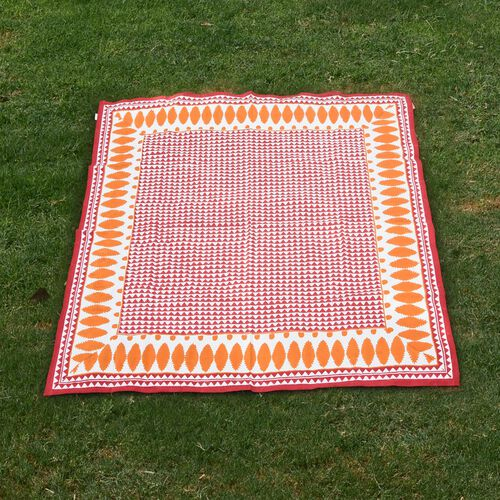 100% Cotton Orange, Red and White Colour Hand Block Printed Table Cover (Size 150x150 Cm)