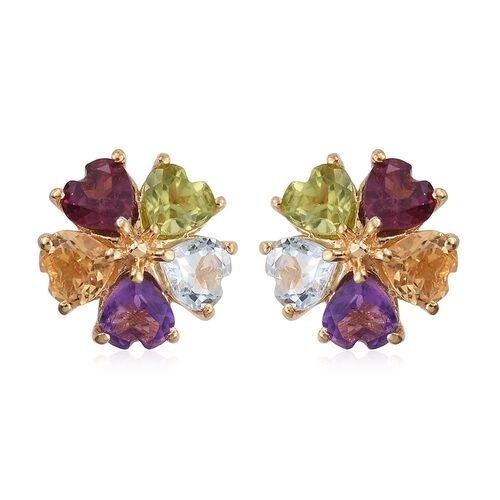Hebei Peridot (Hrt), Amethyst, Citrine, Rhodolite Garnet and Sky Blue Topaz Floral Stud Earrings (with Push Back) in 14K Gold Overlay Sterling Silver 2.145 Ct.