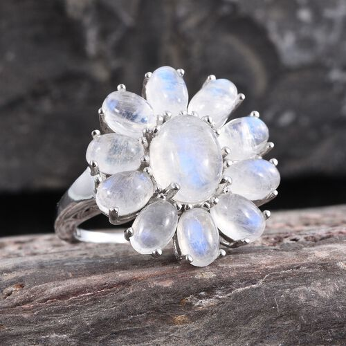 Natural Rainbow Moonstone (Ovl 2.00 Ct) Floral Ring in Platinum Overlay Sterling Silver 8.000 Ct.