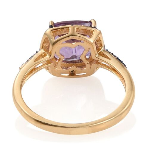 Natural Uruguay Amethyst (Cush), Blue Diamond Ring, Pendant and Stud Earrings (with Push Back) in 14K Gold Overlay Sterling Silver 6.540 Ct.