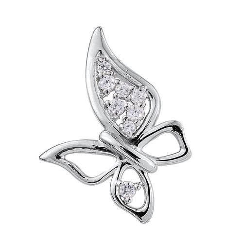 J Francis - Platinum Overlay Sterling Silver (Rnd) Butterfly Pendant Made with SWAROVSKI ZIRCONIA