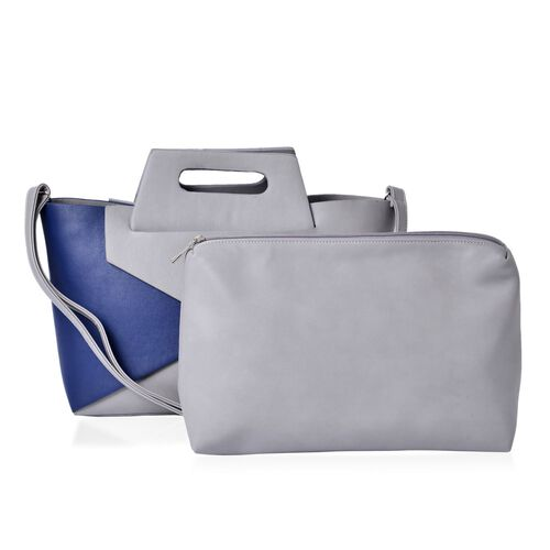 Set of 2 - Royal Blue and Grey Colour Large Tote (Size 40x20x10 Cm) with Grey Colour Small Clutch Bag (Size 25x15 Cm)