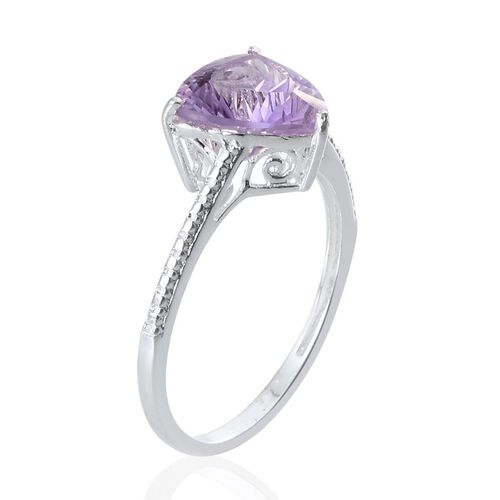 Concave Cut Brazilian Amethyst (Trl) Solitaire Ring in Sterling Silver 2.500 Ct.