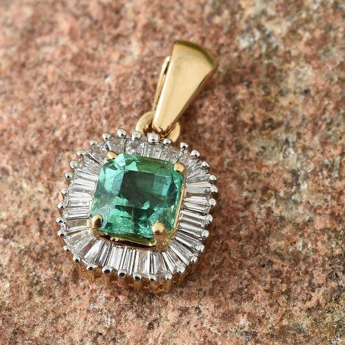 ILIANA 0.90 Ct AAAA Boyaca Colombian Emerald and Diamond (SI/G-H) Halo Pendant in 18K Gold