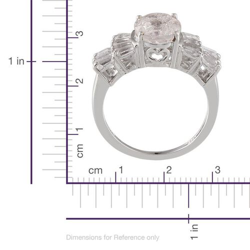 White Crackled Quartz (Ovl 2.25 Ct), White Topaz Ring in Platinum Overlay Sterling Silver 3.650 Ct.