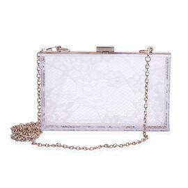 Lace Pattern White Colour Clutch Bag with Removable Chain Strap (Size 18x10x5 Cm)