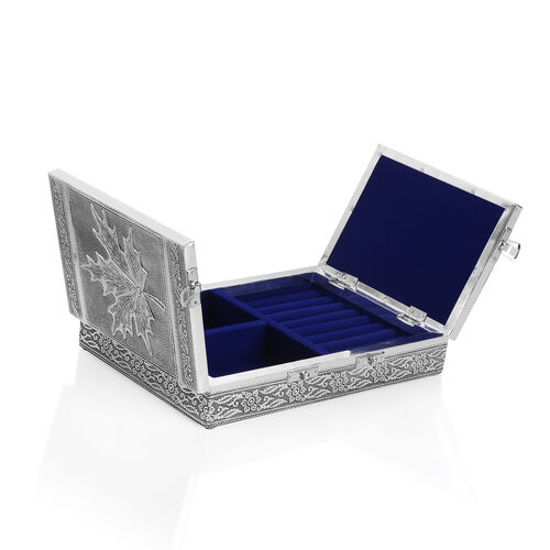 Handcrafted Maple Leaf Embossed Two Door Jewellery Box with Blue Velvet Inside (Size 24.5X17.5 Cm)