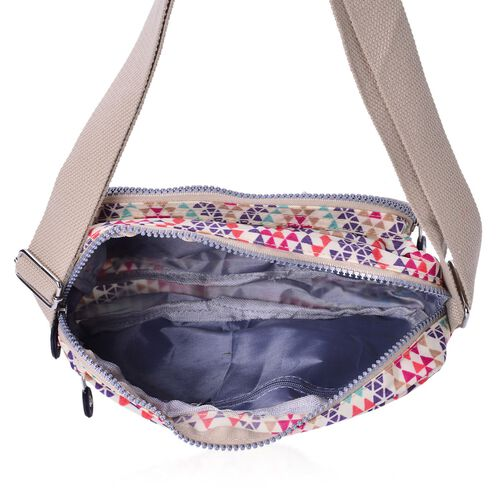 Beige and Multi Colour Diamond Pattern Waterproof Sports Bag with External Zipper Pocket and Adjustable Shoulder Strap (Size 22.5X16.5X6 Cm)