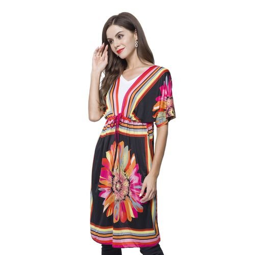Autumn Collection - Black, Pink and Multi Colour Flower Printed Dresses (Size 90X62 -  Free Size) with Adjustable Waistband