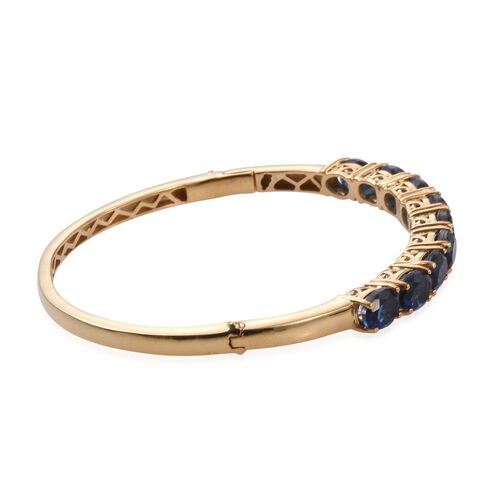 Ceylon Colour Quartz (Ovl) Bangle (Size 7.5) in ION Plated 18K Yellow Gold Bond 14.000 Ct.