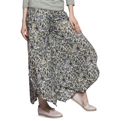 Grey, Black and Multi Colour Ethnic Floral Pattern Palazzo Trouser (Free Size)