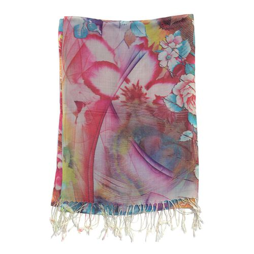 Digital Floral Pattern Multi Colour Scarf (Size 70x180 Cm)