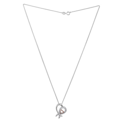 Close Out Deal ELANZA AAA Simulated Diamond (Rnd) Heart Pendant with Chain in Platinum and Rose Gold Overlay Sterling Silver