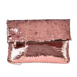 Bronze Colour Sequin Clutch Bag with Chain Strap (Size 31x23 Cm)