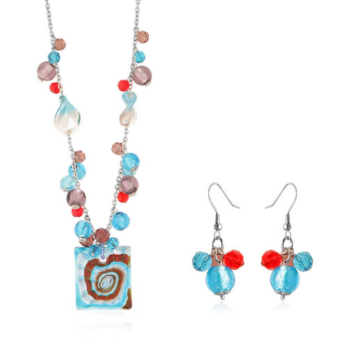 Blue Glass Earrings and Necklace (Size 20) in Stainless Steel 250.000 Ct.