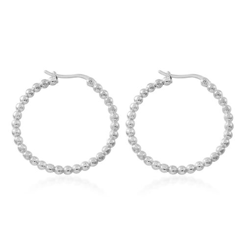 Thai Sterling Silver Beads Hoop Earrings (with Clasp Lock), Silver wt 7.00 Gms.