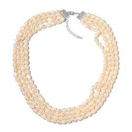 Fresh Water White Pearl Multi Strand Necklace (Size 18 with 2 inch Extender) in Silver Tone