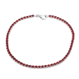 ELANZA AAA Simulated Burmese Ruby (Rnd) Bracelet (Size 7.5) in Rhodium Plated Sterling Silver, No. of Stones 65pcs