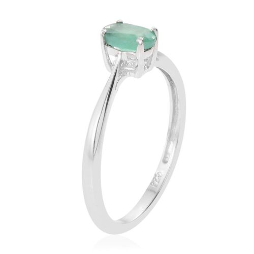 Kagem Zambian Emerald (Ovl) Solitaire Ring in Platinum Overlay Sterling Silver 0.500 Ct.