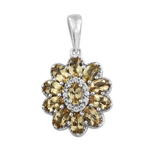 Heliodor (Ovl), Natural Cambodian Zircon Flower Pendant in Platinum Overlay Sterling Silver 2.500 Ct.