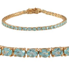 Paraiba Apatite (Ovl) Bracelet (Size 7.5) in Yellow Gold Overlay Sterling Silver 6.250 Ct.