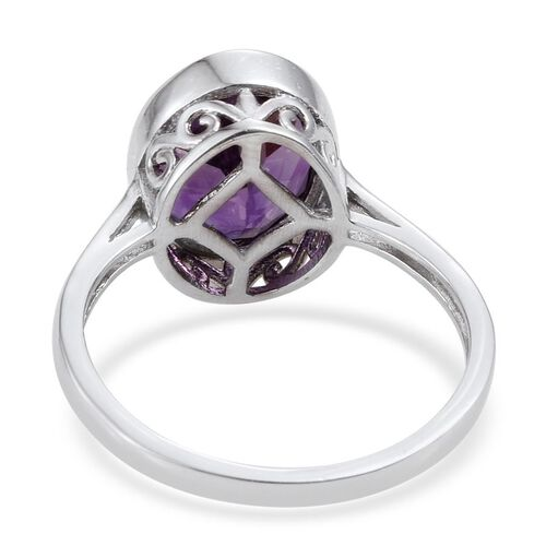 Natural Uruguay Amethyst (Ovl) Solitaire Ring in Platinum Overlay Sterling Silver 3.000 Ct.