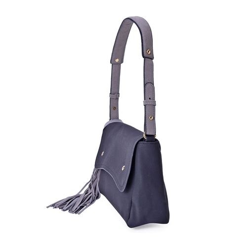 Classic Black City Shoulder Bag with Grey Colour Strap with Long Tassels (Size 28x19x9 Cm)