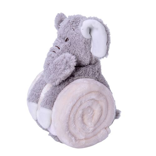 White and Grey Colour Plush Blanket (Size 100X75 Cm) and Elephant Soft Toy for Kids