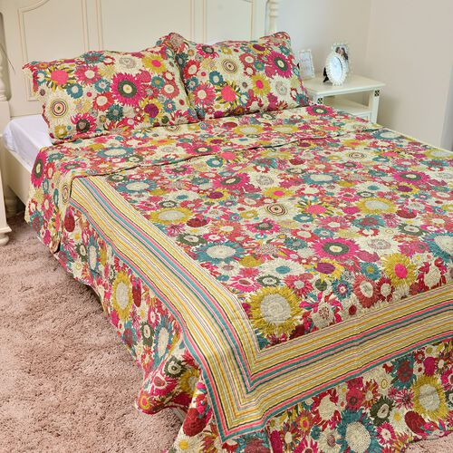 100% Cotton Yellow, Red, Blue and Multi Colour Floral Printed Quilt (Size 250X220 Cm) with 2 Pillow Shams (Size 70X50 Cm)