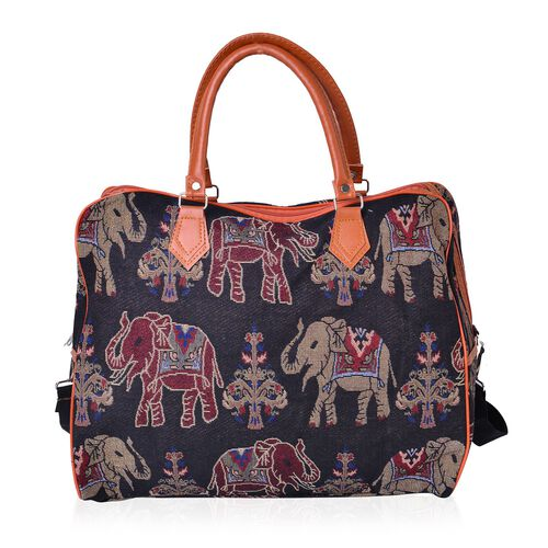 Elephant Pattern Jacquard Tote Bag with Adjustable Shoulder Strap (Size 42X33X15 Cm)