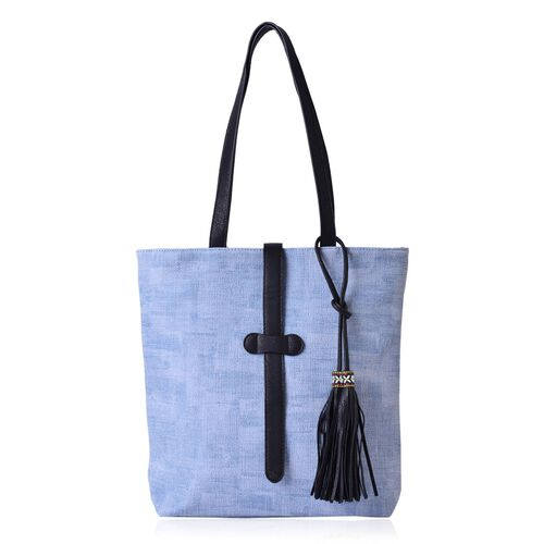 Blue Colour Tote Bag with Tassels (Size 34x28x10 Cm)