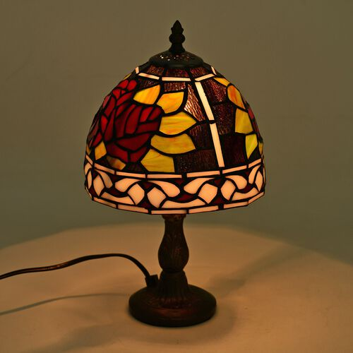 Luxury Edition -  Hand Made - Tiffany Style Table Lamp with Stained Glass Mosaic Shade with Red Rose Design (Size 20 cm diameter x 35 cm H)