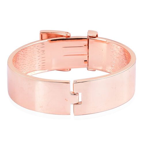 AAA Rainbow Austrian Crystal Buckle Bangle (Size 7.5) in Rose Gold Tone