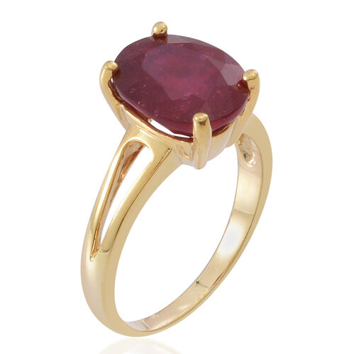AAA African Ruby (Ovl) Solitaire Ring in 14K Gold Overlay Sterling Silver 6.500 Ct.