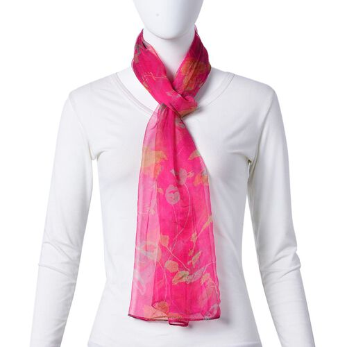 One Time Deal-100% Mulberry Silk Rose Red, Yellow and Green Colour Floral Pattern Scarf (Size 180X50 Cm)