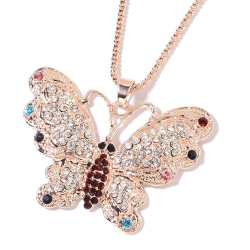 Multi Colour Austrian Crystal Butterfly Pendant With Chain (Size 28) in Rose Gold Tone