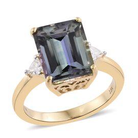 ILIANA 18K Y Gold Peacock Tanzanite (Oct 5.82 Ct), Diamond Ring 6.000 Ct.