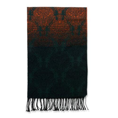 Designer Inspired Orange, Green and Multi Colour Damask Pattern Scarf (Size 180x65 Cm)